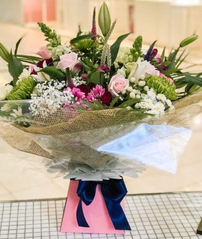 Large aqua bouquet showing