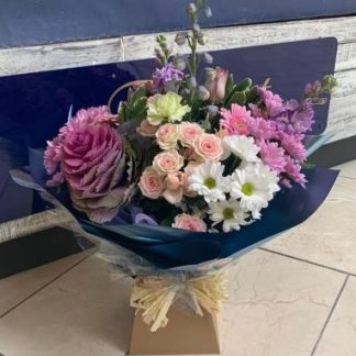 Aqua Bouquet in a mix of soft pastel colours of pinks. purple & whites.