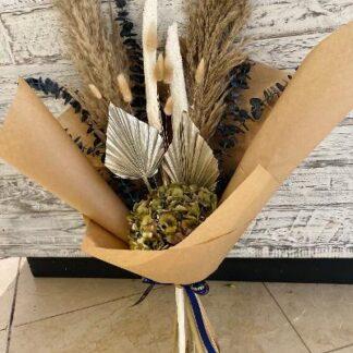 Dried flower handtied bouquet in natural & metallic tones.