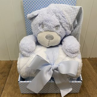 Blue teddy in a box with a blue blanket.