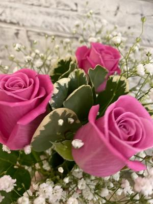 Gorgeous pink roses with gypsophia.
