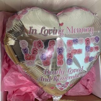 Silver Heart Balloon with pink writing. In loving memory, wife.