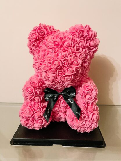 Pink rose bear with black bow